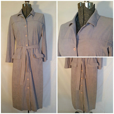 VTG Sportrite By HIGHLAND QUEEN ~ Ultra-Suede Belted Trench Coat ~ Light Gray