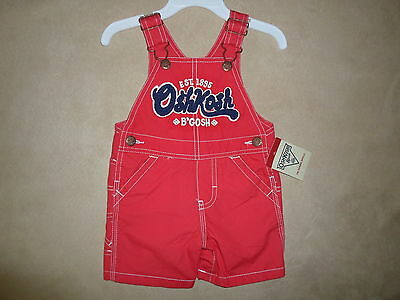 Baby Boys' 9 Months OshKosh B'gosh 100% Cotton Red Short Overalls~NEW WITH TAGS!