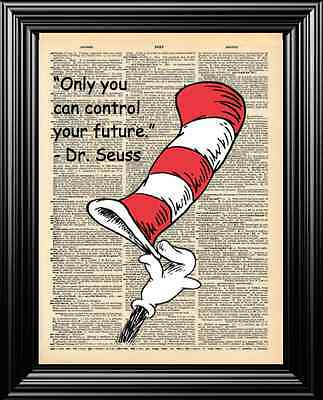 Dr. Seuss' Cat In The Hat Upcycled Vintage Dictionary Page Wall Art Print