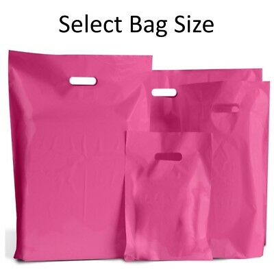 Hot Pink Plastic Bags / Gift Shop Carrier Bag / Boutique Retail - Small & Large