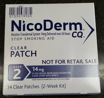 Nicoderm CQ Step 2 -14 Clear patches NEW STOCK Different Box,Same Item - Save $