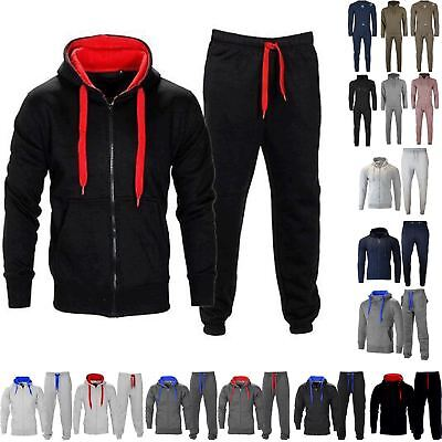 Mens Gym Contrast Jogging Tracksuit Hoodie Distressed Fleece Bottoms Joggers Set