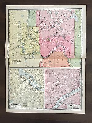 """Large 21"""" X 28"""" COLOR Map of St. Paul MN-(1905)"""