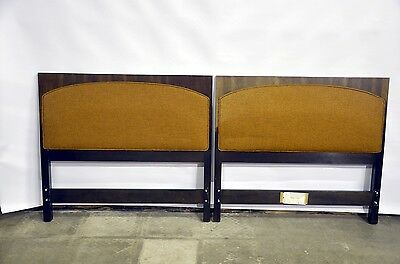 PAIR of Twin Walnut & Upholstered Headboards By Directional, Harvey Probber