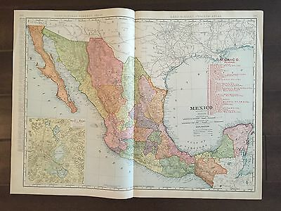 """Large 21"""" X 28"""" COLOR Rand McNally Map of Mexico-(1905)"""