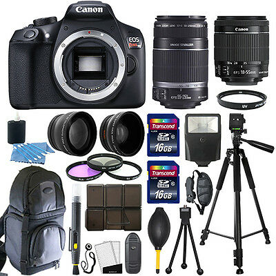 Canon EOS Rebel T6 DSLR Camera + 18-55mm IS II + 55-250mm 4 Lens 32GB Valued Kit