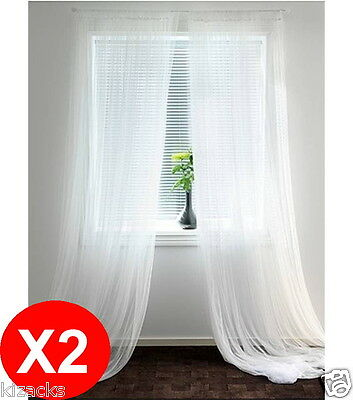 2 X IKEA LILL Continuous White Curtain Sheer Curtains Pair Long Blind NEW