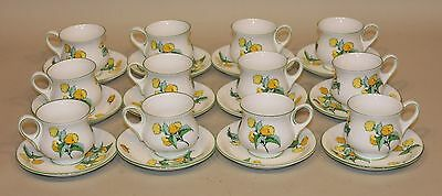 12 Crown Staffordshire Fine Bone China Cornwall Demitasse Teacups Cups & Saucers