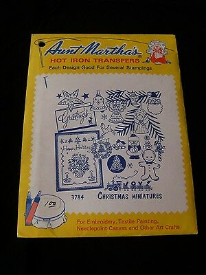 NOS Aunt Martha's Hot Iron Transfer Embroidery Pattern Christmas Miniatures 3784