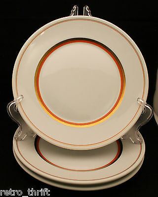 Set of 3 Royal Copenhagen White Gold Orange Dinner Plates 25cm  Denmark AS-IS