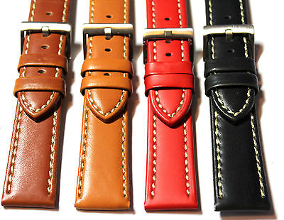 Diloy Smooth Satin Matt Contrast Stitch Leather Watch Strap. 18, 20, 22mm