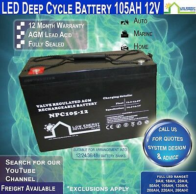 105AH 12V LED - AGM  Battery Deep Cycle 105 ah (FREE FREIGHT)