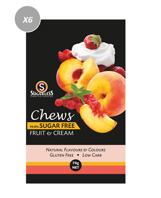 901883 4 x 70g BAGS OF CHEWS FRUIT & CREAM - 99.8% SUGAR FREE AND GLUTEN FREE