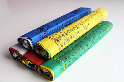 Pack of 5 Rolls with 50 Flags of Large Cotton Tibetan Prayer flags