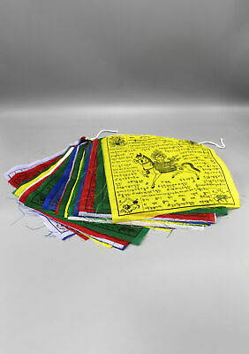 Tibetan Windhorse Wooden Block Printed Buddhist  Polyester Prayer Flag