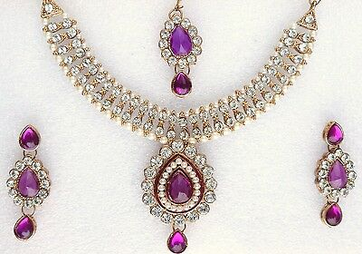 Indian Ethnic Bollywood Gold Plated Pearls Purple Jewelry Necklace Earrings Set
