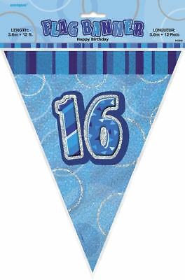 16th Blue Glitz Bunting - 12ft Long - Plastic Party Pennants Flag Banner