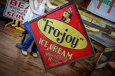 RARE OLD ANTIQUE FRO-JOY Tin Sign Wood framed BABE RUTH Advertising ICE CREAM