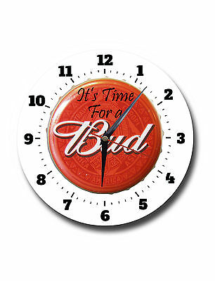 Its Time For A Bud,budweiser,classic,round Metal,wall Clock,591