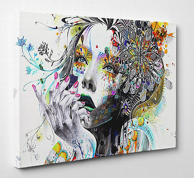 X Large Abstract Girl Woman Flowers Colourful Canvas Print Wall Art A1 A2 A3
