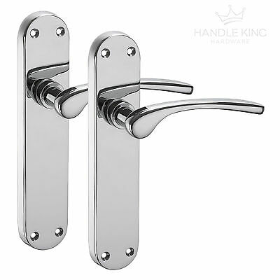 Chrome Door Handles on Backplate with Polished Chrome Finish
