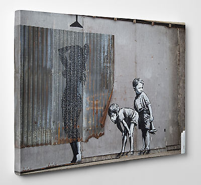 Large Banksy Graffiti Lady Shower Canvas Print Wall Street Art Large A1 A2 A3 A4