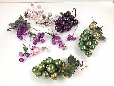 Mixed Lot Of Grape Cluster Christmas Decorations Purple Glass, Pink Mercury-
