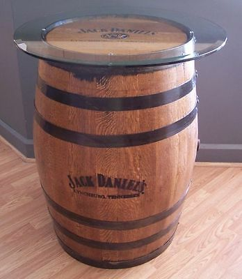 """Authentic Branded- Engraved-Sanded-Finished Whiskey Barrel c/30"""" Glass Table Top"""