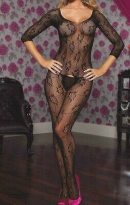 Intimo Donna Bodystocking Sexy Lingerie Nero Rete Collant Catsuit Body