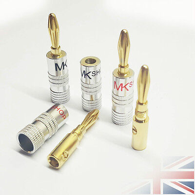 8x 24K Gold Plated Speaker Cable Wire Connector 4mm Banana Plug HiFi Plug Audio