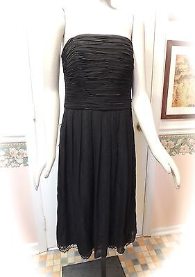 b854f1cd2f3d ANN TAYLOR Black Ruched Bodice Strapless Lined Lace Dress Size 10 NWT $198  AG46