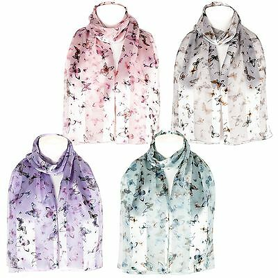 Chiffon Satin Ladies Butterfly Print Scarf Shawl Wrap