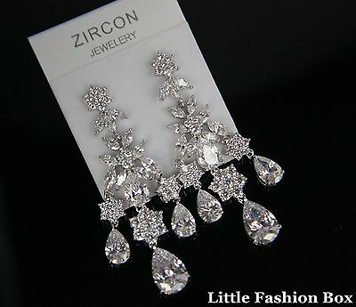 Chandelier Superior Cut Cubic Zirconia Cluster Teardrop Wedding Brides Earring