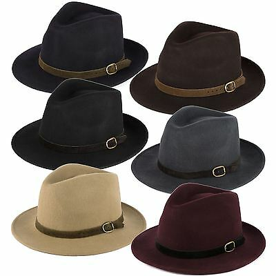 100% Wool Fedora Hat with Suede Belt Handmade in Italy