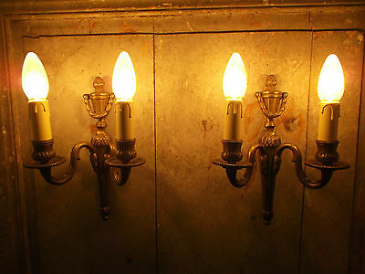 French a pair of patina gold bronze wall light sconces classic vintage