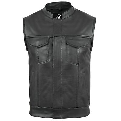 New Motorcycle Motorbike Cut Off Vest With Chrome Leather Biker Sons of Anarchy