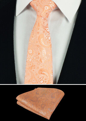 NEW Mens Peach paisley Jacquard Silk Men Ties Necktie handkerchief Set Wedding
