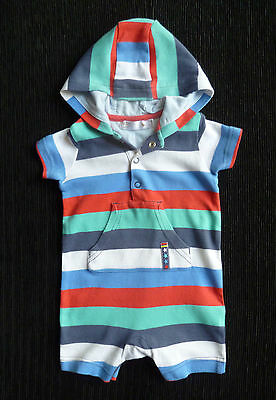 Baby clothes BOY 0-3m M&Co. hooded short sleeve romper blue/red COMBINE POSTAGE!