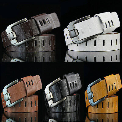 Fashion Homme Ceinture en Cuir Metal Ardillon Boucle Belt Business/casual jeans