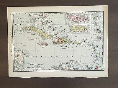 """Large 21"""" X 14"""" COLOR Rand McNally Map of the West Indies-1905"""