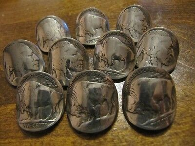 Original 5C Buffalo Nickel Nail Shape Coin Shank Buttons Handmade 10 Pcs Lot!