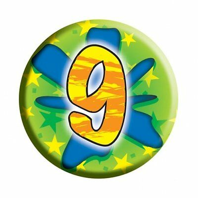 Amscan I AM 9 Nine Happy 9th Birthday Badge Unisex Girls Boys 61mm Diameter
