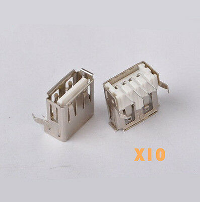 10pcs USB Type-A Female PCB Mount Socket Connector Right Angle 4Pin 90Degree DIY