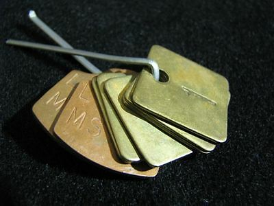 Set of 8 Antique Early 20th Century Hotel or Motel Room Tags Brass & Copper