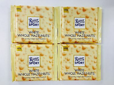 4 x 100g BARS OF RITTER SPORT CHOCOLATE - WHITE WHOLE CRUNCHY ROASTED HAZELNUTS