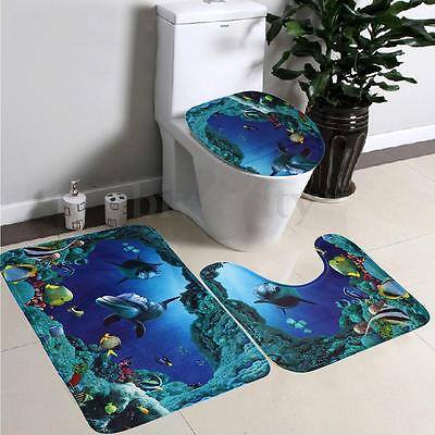 3pcs Bathroom Non-Slip Mat Deep Sea Dolphin Rug + Lid Toilet Cover + Bath Mat