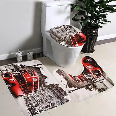 3pcs Bathroom Non-Slip Mat Set Red Bus Rug + Lid Toilet Cover + Bath Mat