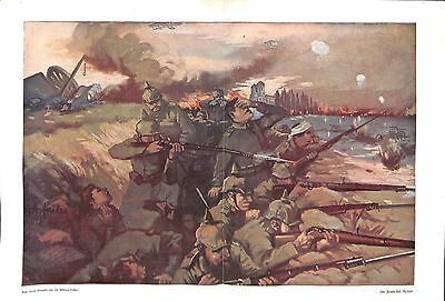 E1971 WWI print 1914/18- German Soldiers Reim trench painting by Andreas Sailer