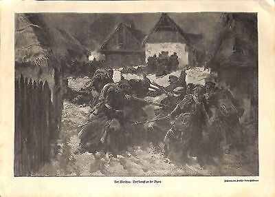 E1991	WWI print 1914/18-	Warzaw german soldiers in Bzura fight drawing by Anton