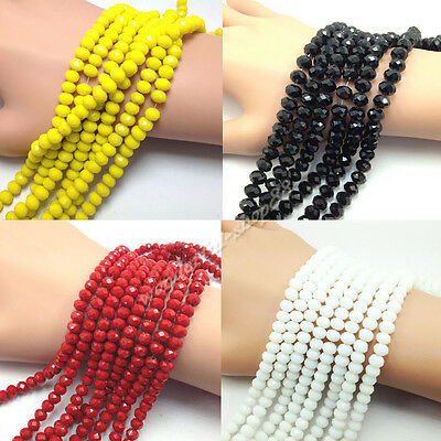 20/50/100Pcs Rondelle Faceted Crystal Glass Loose Spacer Beads Crafts 4/6/8/10MM